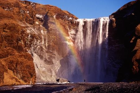 Skogarfoss, Wasserfall, Island, Winter, Regenbogen